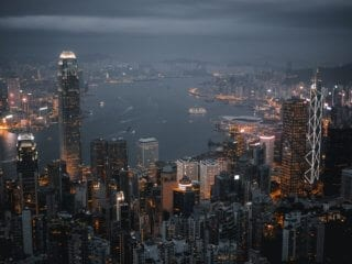 Sky View of Asian City
