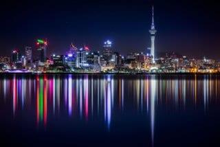 Aukland New Zealand skyline at night
