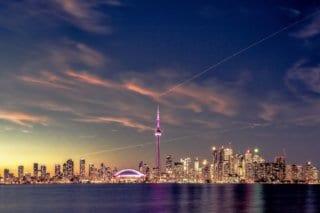 The Toronto, Canada skyline at dusk