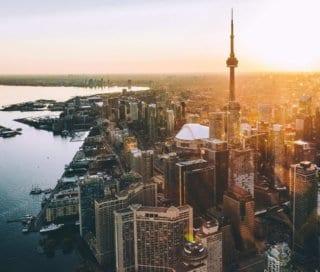 The Toronto skyline during golden hour. Toronto is a top international jobs destination.