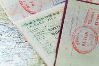 A close up look at a Chinese visa.