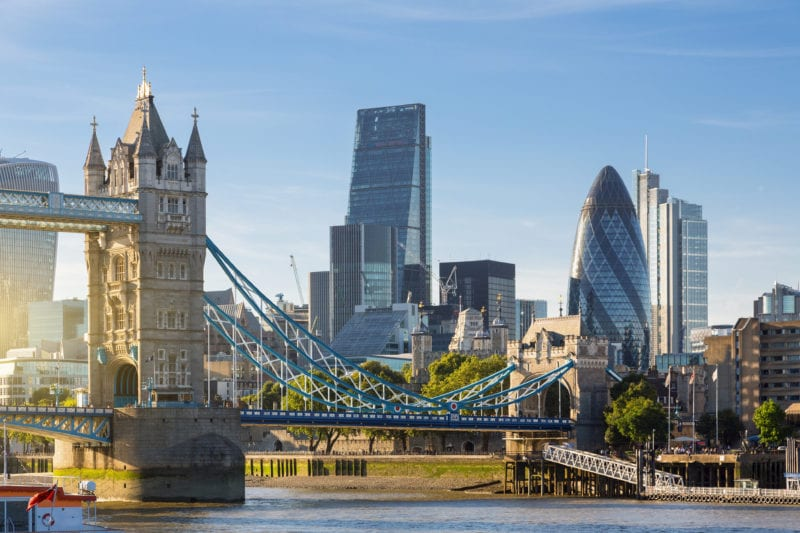 cityscape of London with London bridge