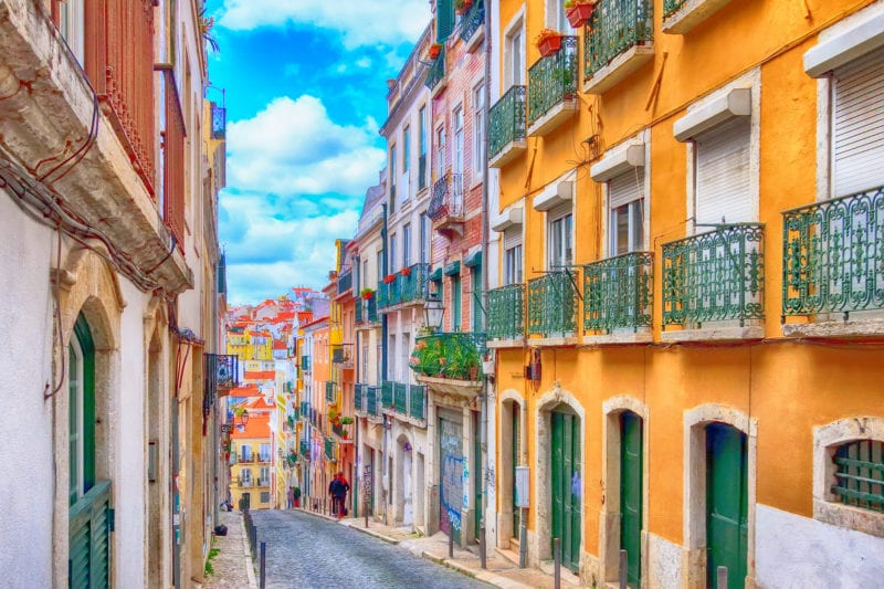 Lisbon, Portugal city street view