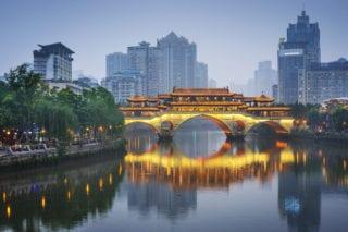 Chengdu, Sichuan, China at Anshun Bridge