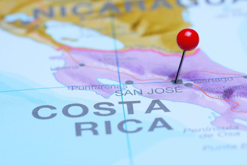 Costa Rica map with pin in it