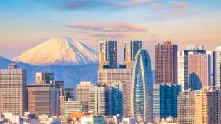 Panorama view of Tokyo skyline Mt fuji